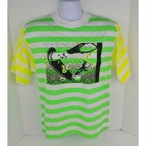 Vtg 80s Neon Skateboard Surf T-Shirt Green/Yellow